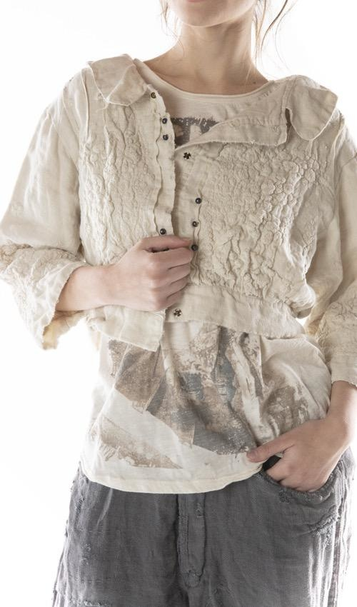 European Linen Cropped Beya Jacket with Embroidery, Pintucks, Antique Snaps and Distressing, Magnolia Pearl