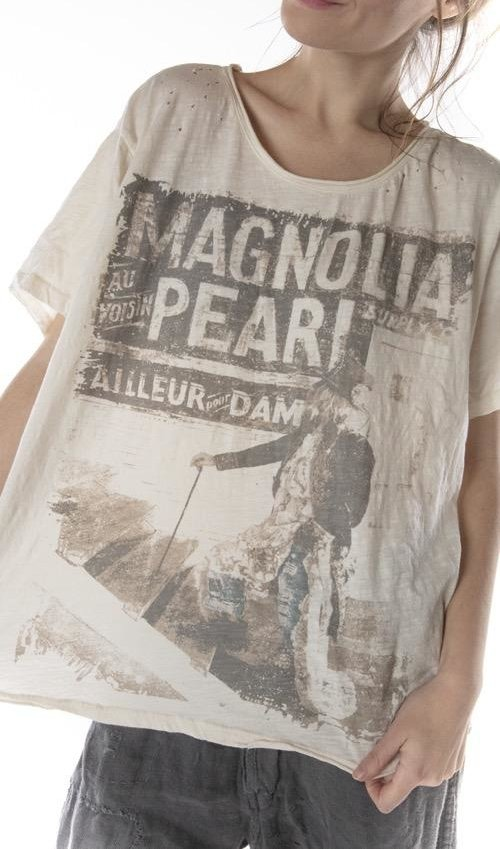 Cotton Jersey And The Stars Go With You T, New Boyfriend Cut, Magnolia Pearl