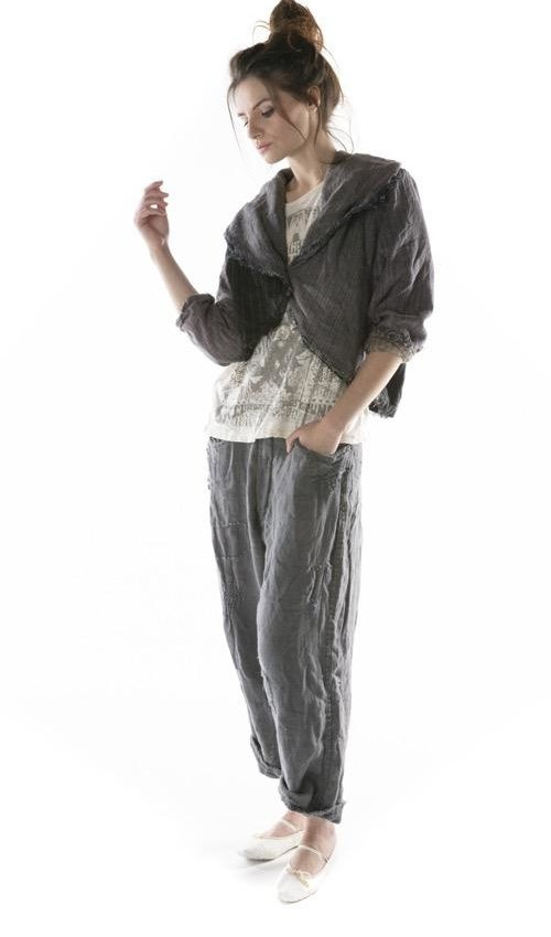 Mixed Wool and Woven Cotton Cropped Augustina Jacket with Fading, Hand Distressing and Mending, Magnolia Pearl