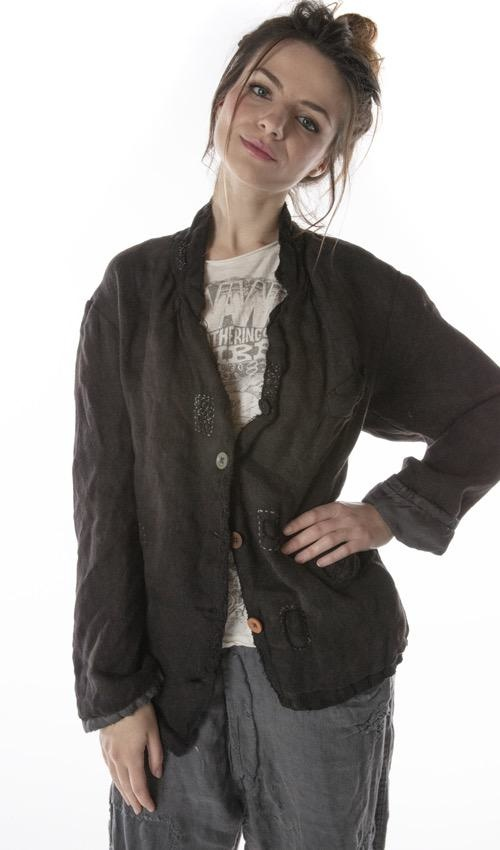 Woven Cotton Fenella Jacket with Silk Lining, Hand Distressing, Patching, Mending and Mixed Buttons, Magnolia Pearl