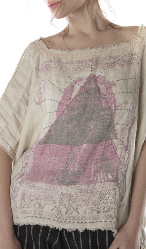 Cotton Linen Hand Stitched Sufi Bretta Blouse with Silk Details, Distressing, Patching and Raw Edges, Magnolia Pearl