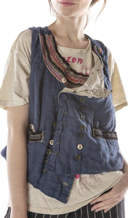 Woven Cotton Lennon Vest with Velvet Trim and Ric Rac at Neckline, Mixed Buttons and Pockets, Hand Distressing and Mending, Magnolia Pearl