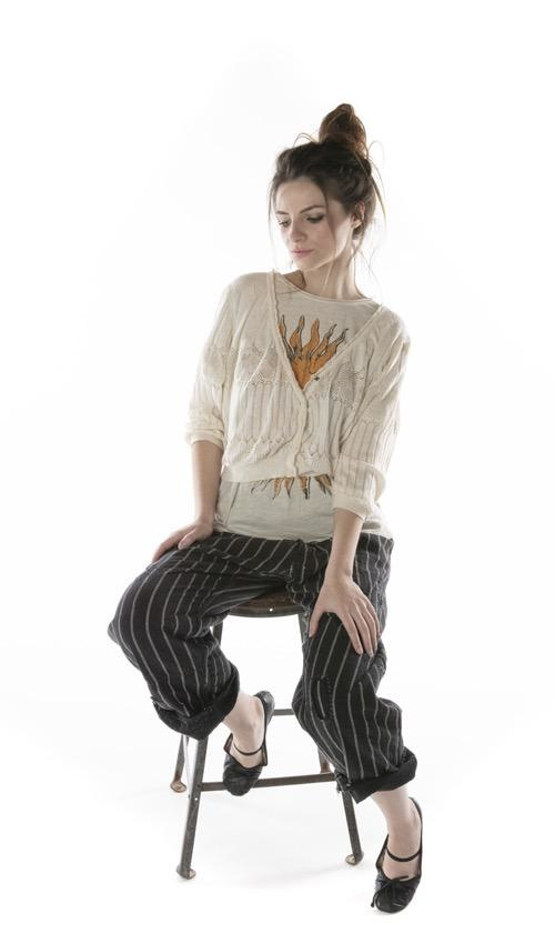Cotton Knit Hadley Cropped Sweater with Button Front and Cotton Lace Trim, Magnolia Pearl