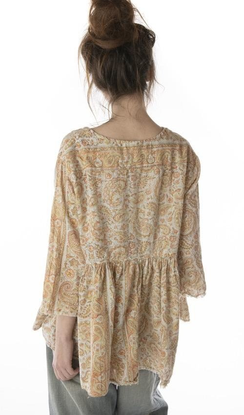 Woven Cotton Hand Blockprint Ojai Blouse with Antique Hooks and Raw Edges, Magnolia Pearl