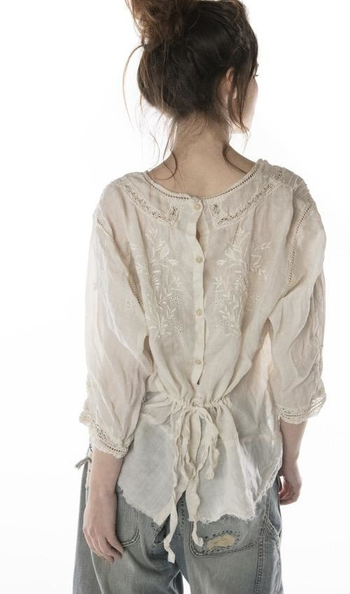 Linen Ramie Embroidered Charlotte Blouse with Cotton Lace Details, Buttons Down Back and Silk Tie, Magnolia Pearl