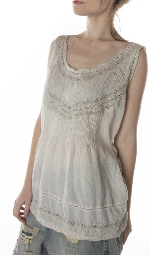 European Cotton Minette Day Tank with Cotton Lace, Pintucks and Embroidery, Magnolia Pearl