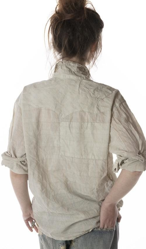 European Cotton Andre Shirt with Fading, Distressing and Hand Mending, Magnolia Pearl
