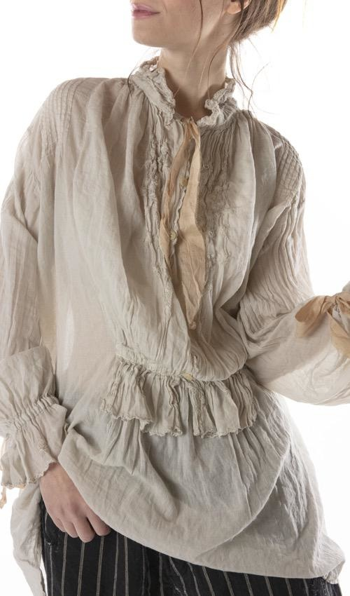 European Cotton Amadeus Top with Embroidery, Pintucks, Cotton Lace, Buttons and Cotton Silk Ties, Magnolia Pearl