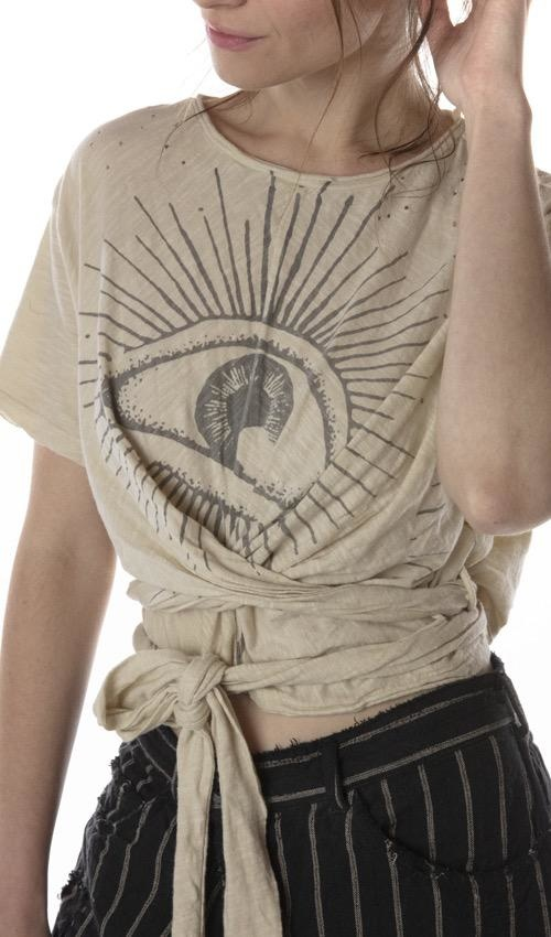 Cotton Jersey Eye Of Providence Tawney Wrap T with Distressing and Raw Edges, Magnolia Pearl