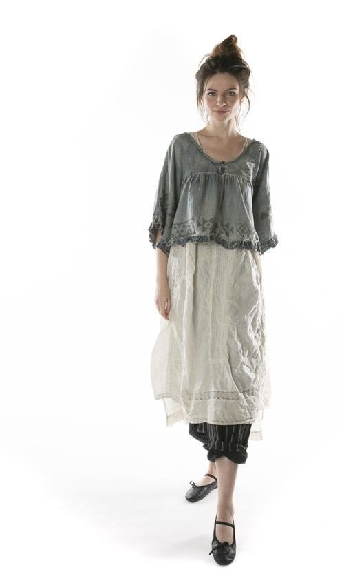 Cotton Denim Kima Crop Poncho Top with Native American Graphics, Raw Edges and Ruffle Trim, Magnolia Pearl
