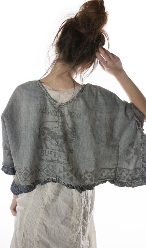 Cotton Denim Kima Crop Poncho Top with Native American Graphics, Raw Edges and Ruffle Trim, Magnolia Pearl