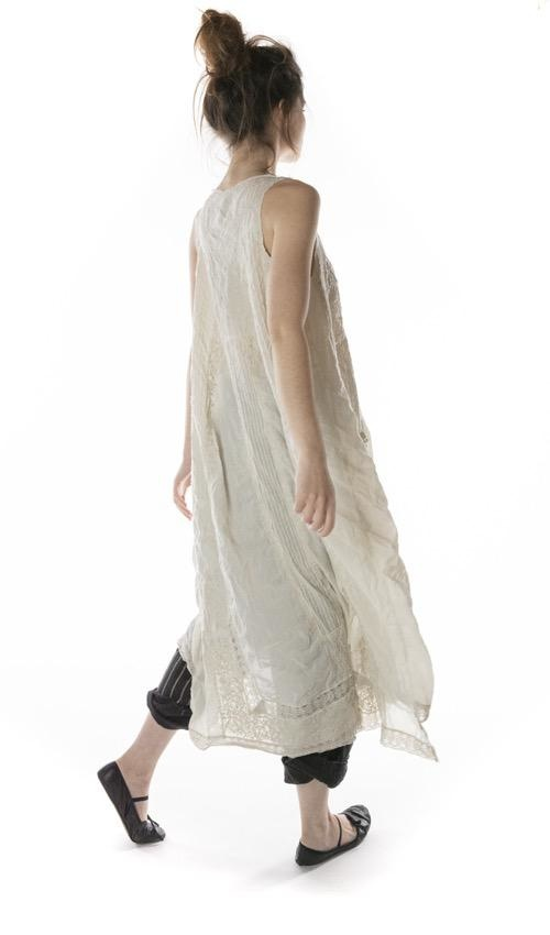 European Cotton Embroidered Layla Tank Dress with Cotton Lace Details and Raw Edges, Magnolia Pearl