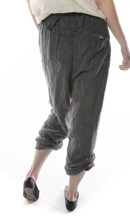 Woven Cotton Emmett Pants with Patching, Distressing, Fading and Button Waist with Buckle at Back, Magnolia Pearl