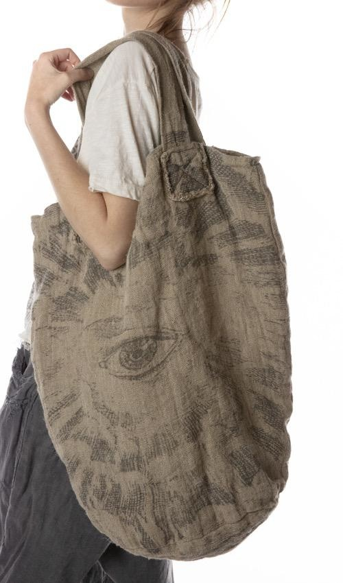 Double Lined Raw Linen Freedom Of Conscience Basket Bag, Magnolia Pearl