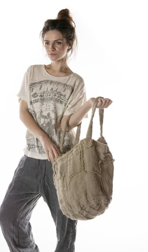 Double Lined Raw Linen Bucket Bag, Magnolia Pearl