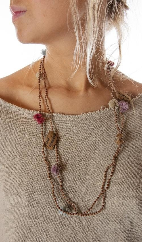 Hand Knotted Sandalwood Pom Pom Mala Necklace, Magnolia Pearl