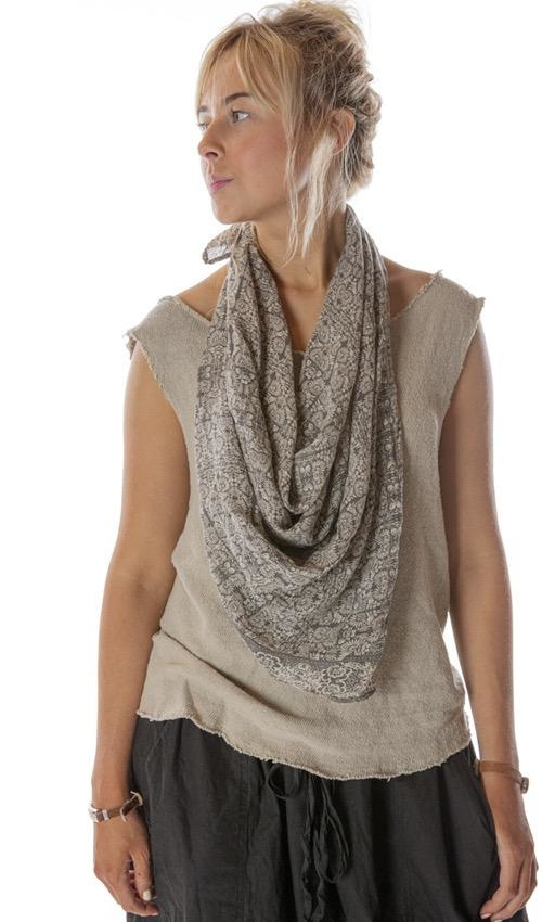 Thin Cotton Hand Block Printed Scarf, Magnolia Pearl