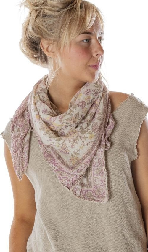 Thin Cotton Hand Block Print You Just Love Scarf, Magnolia Pearl
