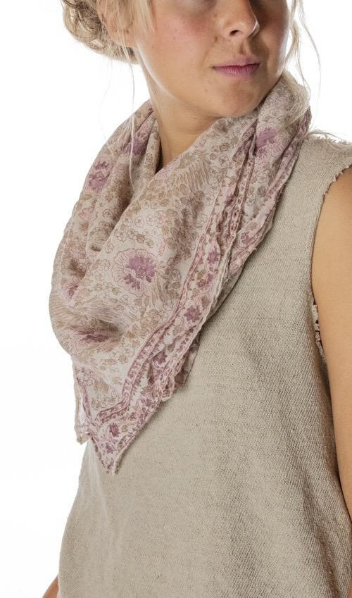 Thin Cotton Hand Block Print Golden Poppy Scarf, Magnolia Pearl