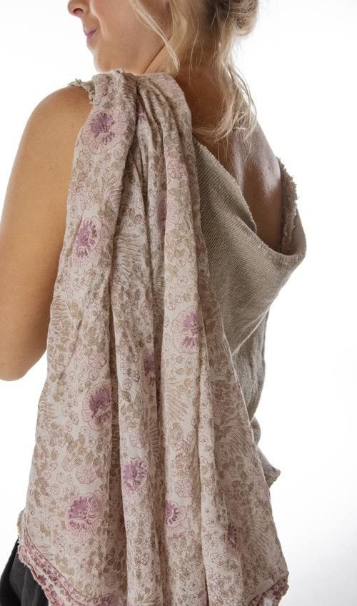Thin Cotton Hand Block Print Golden Poppy Scarf, Magnolia Pearl