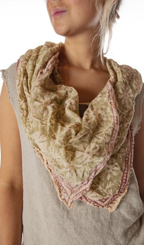 Thin Cotton Hand Block Print Tuva Scarf, Magnolia Pearl