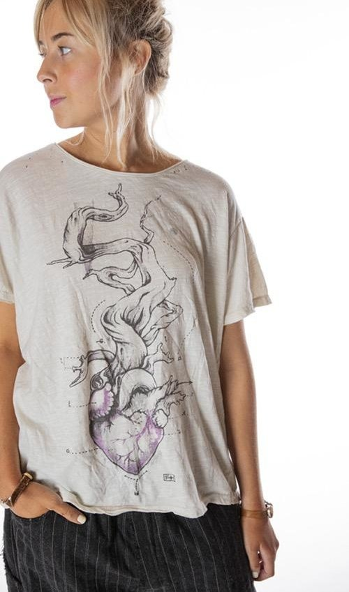 Cotton Jersey Tree of Love T, New Boyfriend Cut, Magnolia Pearl