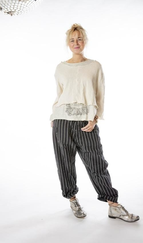 Cotton Jersey Knit Fenna Cropped Sweatshirt with Raw Edges, Magnolia Pearl