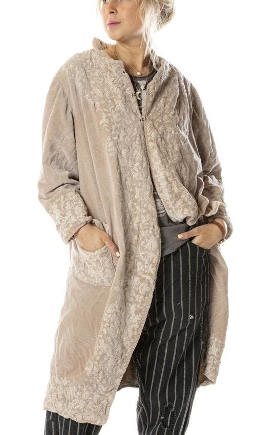 Cotton Velvet Floral Embroidered Emile Jacket with Pockets and Antique Hooks, Magnolia Pearl