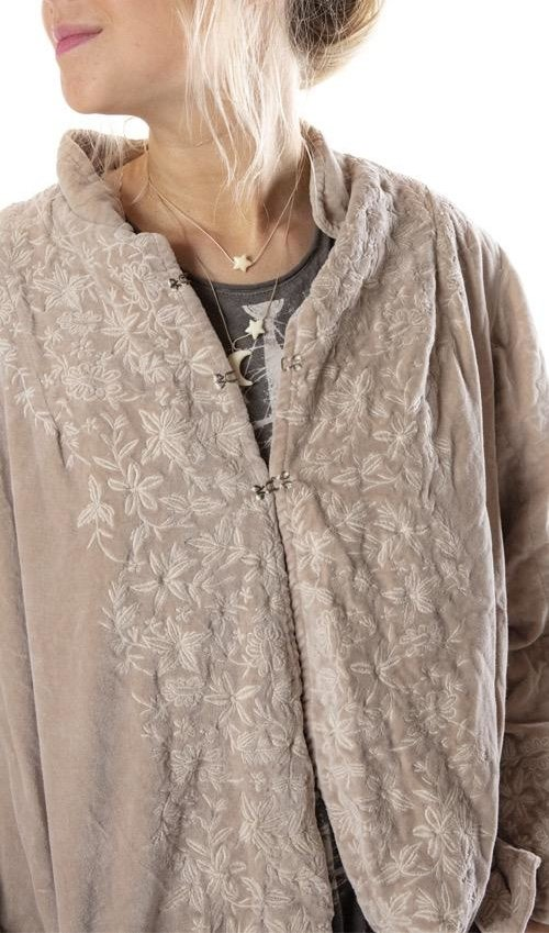 Cotton Velvet Embroidered Lina Jacket with Pockets and Antique Hooks, Magnolia Pearl