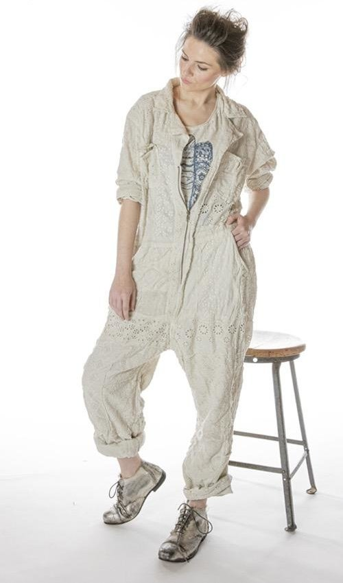 Cotton Eyelet Patchwork MP Workwear Jumper with Distressing, Zipper Front and Elastic Band at Back, Magnolia Pearl