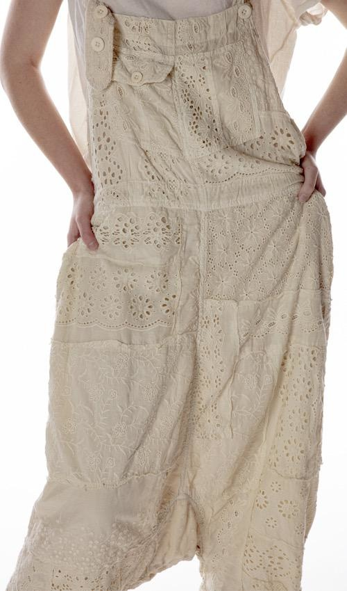 Cotton Eyelet Patchwork Frankie Overalls, Magnolia Pearl