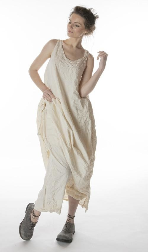 Cotton Poplin Layla Tank Dress with Raw Edges and Distressing, Magnolia Pearl