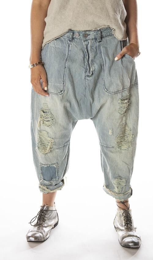 Cotton Denim French Army Pants with Patching, Distressing, Fading and Button Waist with Buckle at Back, Magnolia Pearl