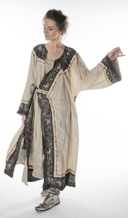 Cotton Silk Yuk E Opera Coat with Embroidered Trim, Silk Ties, Fading and Distressing, Magnolia Pearl