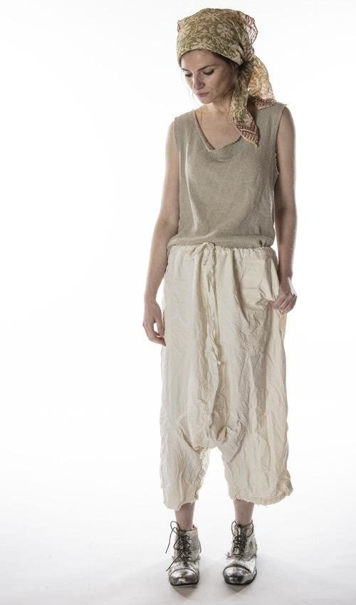 Cotton Poplin Garcon Trousers with Drawstring Waist, Fading, Pockets and a Dropped Rise, Magnolia Pearl