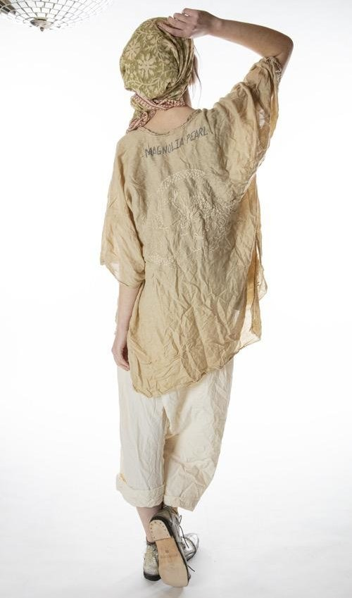 Silk Embroidered Dharma Dragon Kimono with Pockets, Silk Ties and Hand Distressing, Magnolia Pearl