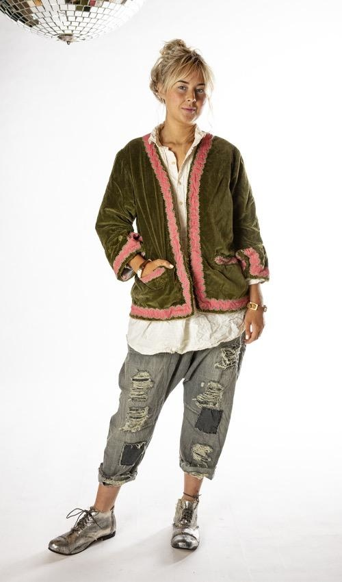 Cotton Velvet Dream World Jacket with Embellished Sleeves and Trim, Fading, Distressing and Printed Lining, Magnolia Pearl