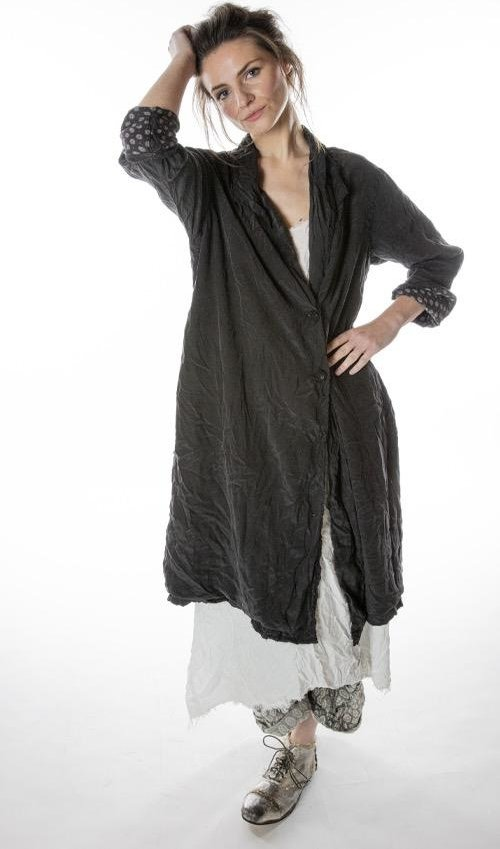 Silk Ondra Coat with Button at Front, Fading and Cotton Twill Lining, Magnolia Pearl