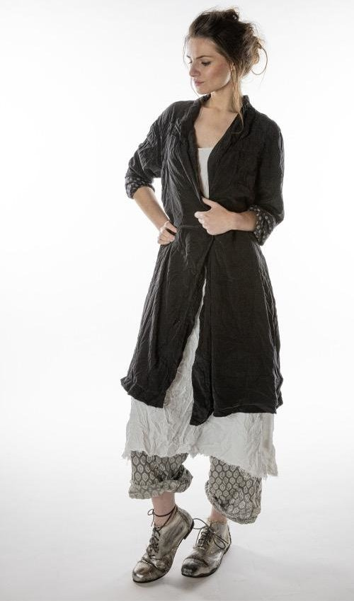 Silk Ondra Coat with Pockets, Mixed Buttons at Front, Fading and Cotton Twill Lining, Magnolia Pearl