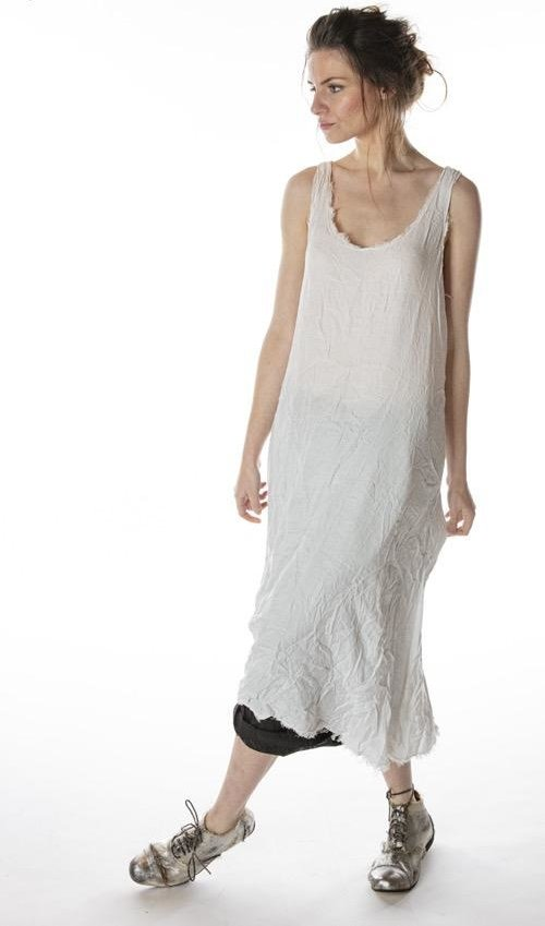 Viscose Olena Slip Dress with Raw Edges, Magnolia Pearl