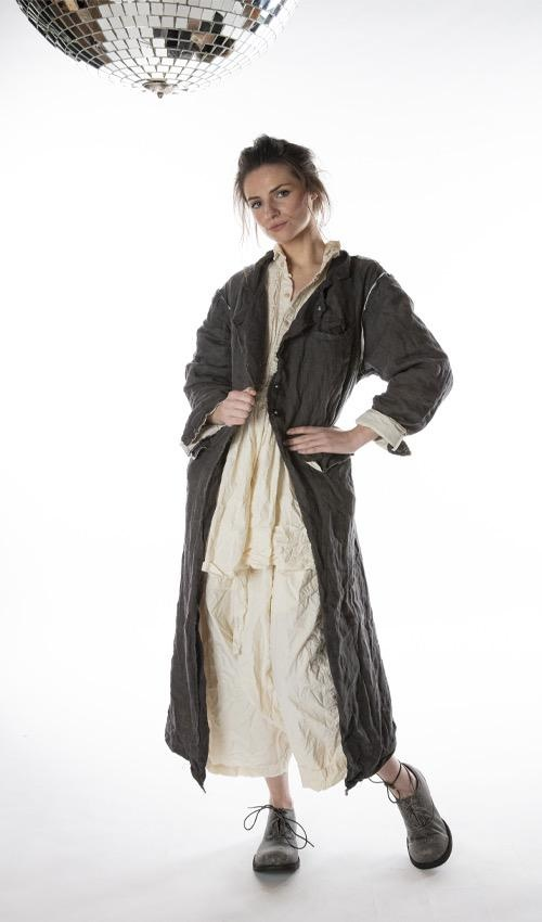 Cotton Twill Lollie Coat with Raw Edges, Buttons Down Front and Pockets, Magnolia Pearl