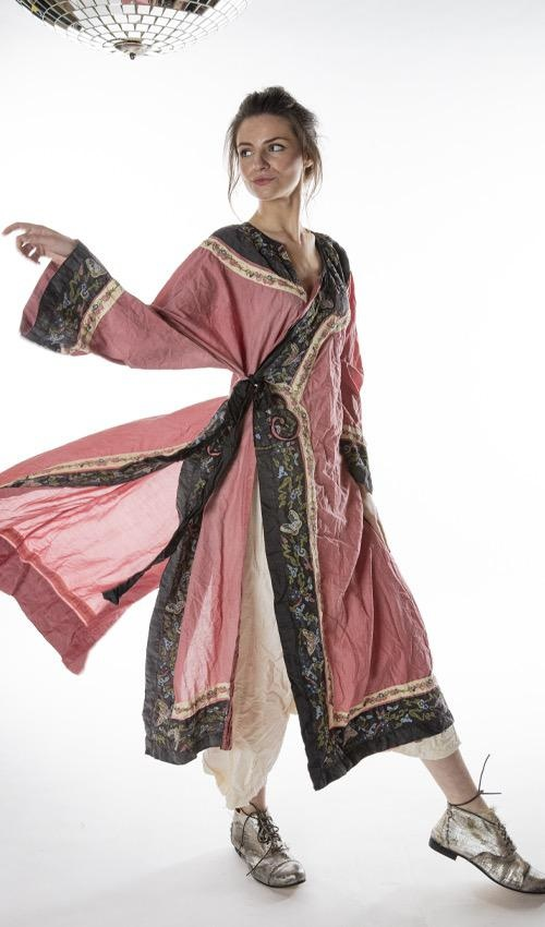 Cotton Silk Miggy Oriental Coat with Embroidered Trim, Silk Ties, Fading and Distressing, Magnolia Pearl