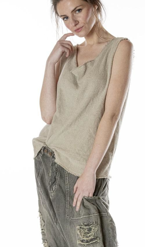 Cotton Jersey Solana Sweater Tank with Raw Edges, Magnolia Pearl