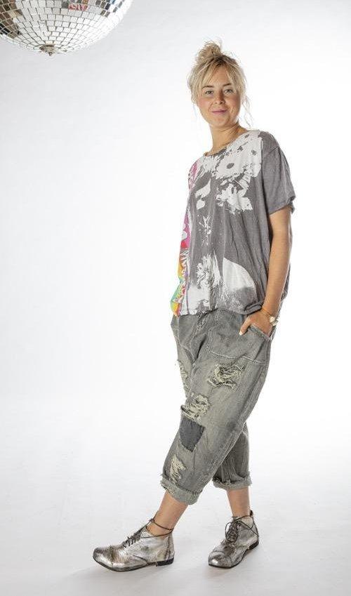 Cotton Jersey Rainbow Warrior T, New Boyfriend Cut, Magnolia Pearl