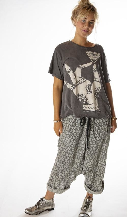 European Cotton Garcon Trousers with Drawstring Waist, Fading, Pockets and a Dropped Rise, Magnolia Pearl
