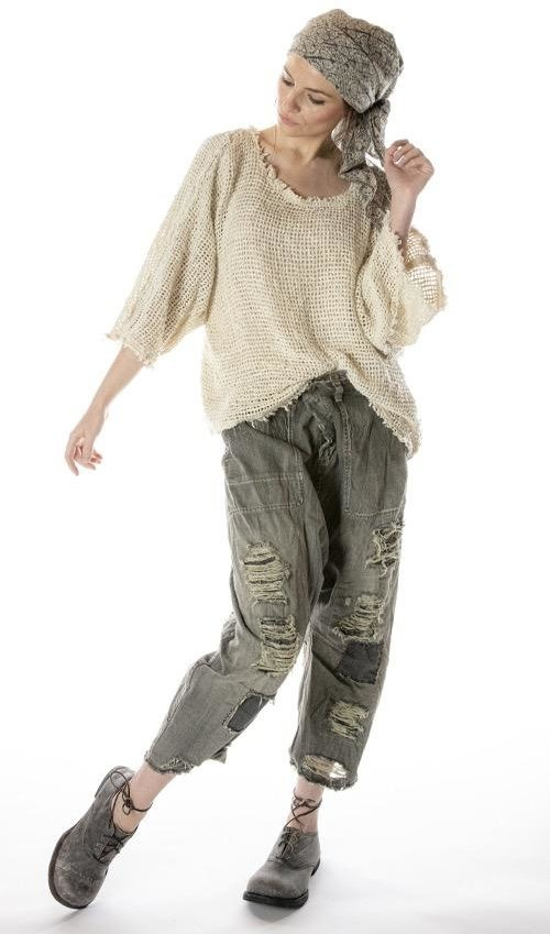Woven Cotton Shilo Sweatshirt with Distressing and Raw Edges, Magnolia Pearl