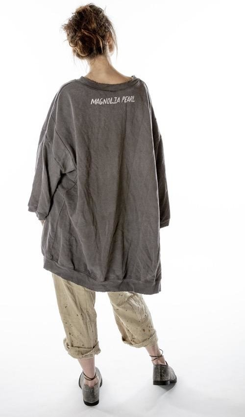 Cotton Knit Oversized Hi Lo Hypnotize Francis Pullover T with Distressing and Fading, Magnolia Pearl