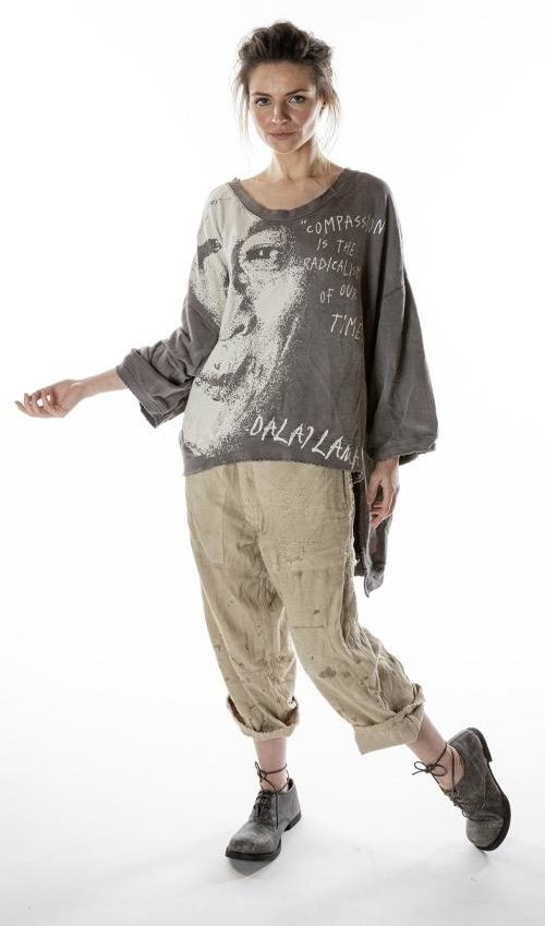 Cotton Knit Oversized Hi Lo Dalai Lama Francis Pullover T with Distressing and Fading, Magnolia Pearl