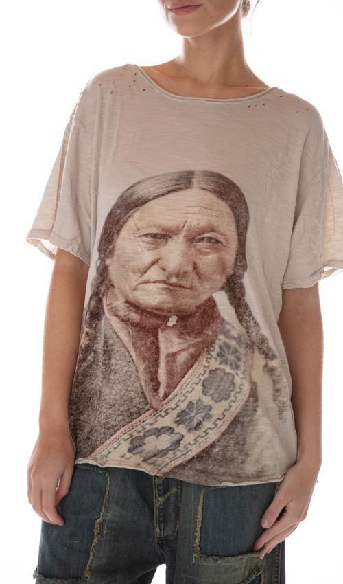 Cotton Jersey Color Tinted 1875 Sitting Bull T, New Boyfriend Cut, Magnolia Pearl
