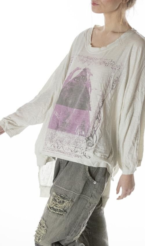 Cotton Jersey Oversized Hi Lo Sufi Francis Pullover T with Distressing and Fading, Magnolia Pearl